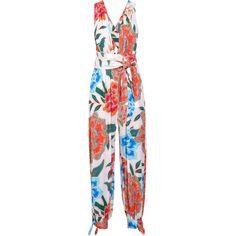 Mara Hoffman Arcadia printed plissé-crepe jumpsuit ($320) ❤ liked on Polyvore featuring jumpsuits, orange, beach jumpsuit, long jumpsuits, orange jumpsuit, halter neck jumpsuit and plunging neckline jumpsuit
