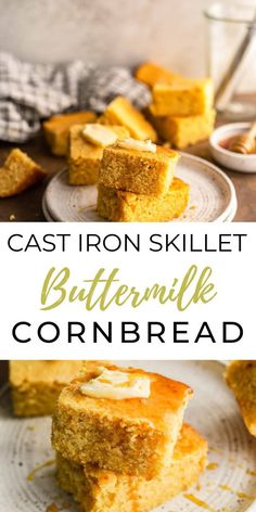 This Cast Iron Skillet Buttermilk Cornbread is an easy and delicious recipe that you'll be making constantly! It's full of a buttery vanilla flavor with a fluffy texture from the buttermilk! Fluffy Cornbread Recipe, Buttermilk Cornbread, Homemade Cornbread, Cornbread Recipes, Delicious Breakfast Recipes, Quick Dinner Recipes, Yummy Food, Hush Puppies Recipe, Best Bread Recipe