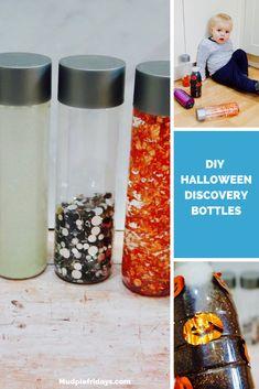 DIY Halloween Discovery Bottles Halloween Activities For Kids, Toddler Activities, Discovery Bottles, Halloween Traditions, Plastic Pumpkins, Black Food, Thing 1, Baby Oil, Halloween Coloring