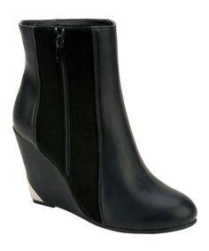 Look at this #zulilyfind! Black Italy Wedge Boot by Nature Breeze #zulilyfinds