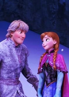 Kristoff and Anna in Frozen. Kristoff helps Anna understand her sister better, and Anna helps Kristoff unlock the caring side of himself. Walt Disney, Frozen Disney, Disney Pixar, Disney Couples, Disney Films, Disney And Dreamworks, Disney Animation, Disney Love, Disney Magic