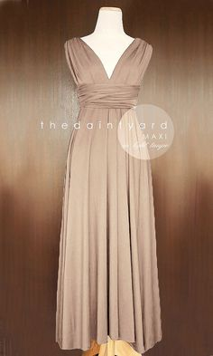 MAXI Light Taupe Bridesmaid Convertible Dress Infinity Multiway Wrap Dress Wedding Dress Neutral Full Length on Etsy, $48.00