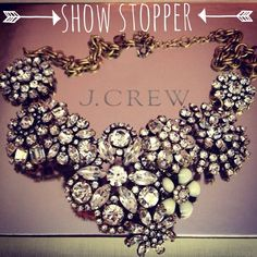 J. Crew Crystal Floral Statement Necklace This fabulous piece was gifted for a wedding & in NWOT condition. This has sold out online, & I was lucky enough to snag one since one of my girlfriends got married, and this was our gift to wear for the big day! I'm selling since we had a couple of no-show bridesmaids. So THIS PIECE HAS NEVER BEEN WORN! If any others don't keep theirs, I may have yet another to sell but no guarantees!  Gorgeous antiqued gold chain with j.crew charm and hardware…
