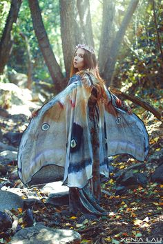 Mooth Butterfly Fairy cape cloak brown and white isis wings costume adult bridal fairy handfasting (185.00 EUR) by CostureroReal