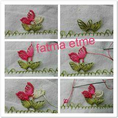 iğne oyası yıldız çiçeği yapımı