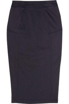 Amanda Wakeley Paneled stretch-twill pencil skirt #amandawakeley #paneledstretchtwillpencilskirt #blackpencilskirt $445