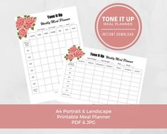 Tone It Up Digital Download Printable Planner A4. Kepp track of your Tone it up TIU journey.