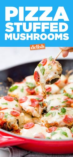 These pizza stuffed mushrooms are the party appetizer everyone will be obsessed with. Get the recipe on Delish.com.