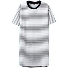 WithChic White Stripe Short Sleeve Tee Dress (€23) ❤ liked on Polyvore featuring dresses, short dresses, striped tee shirt dress, striped t shirt dress, tshirt dress et short-sleeve dresses