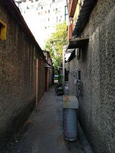 ㅎㅇ @appetite_ / 문래동에서 발견한, 예쁜 회색과 초록의 골목. / #골목 #골목길 #설비 / 서울 영등포 문래 /