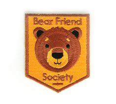 Bear Friend Society Iron On Patch by ZipperTeethShop on Etsy, $5.00