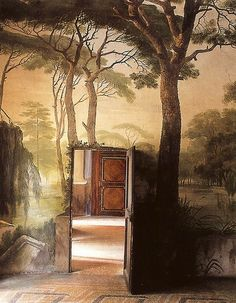 What a beautiful effect! Inspiration mural woods forest trees realism realistic library study