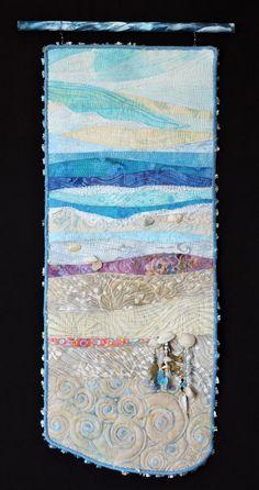 Beach Series #85.  Original fiber art quilt by Eileen Williams.