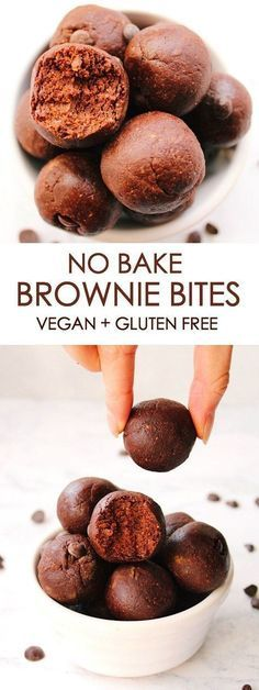 NO BAKE BROWNIE BITES vegan, gluten free is part of Vegan brownie - I'm so obsessed with these brownie bites! They're super quick and easy to make, consisting of only a few very simple ingredients Completely vegan and gluten free, these little brownie … Healthy Vegan Snacks, Vegan Treats, Healthy Sweets, Vegan Foods, Vegan Party Food, Vegan Protein Bars, Vegan Lunches, Healthy Cookies, Vegan Dessert Recipes