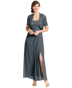 Alex Evenings Dress and Jacket, Sleeveless Sequin Lace Gown - Womens Dresses - Macy's