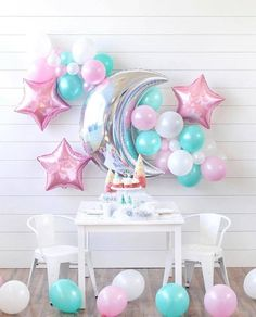 Unicorn Birthday, Baby Birthday, Birthday Bash, Birthday Parties, Baby Shower Deco, Baby Shower Themes, Balloon Decorations, Birthday Party Decorations, Bday Girl