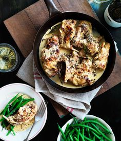 Lapin à la moutarde (rabbit with mustard) recipe : you can substitute the rabbit for chicken or veal.