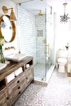 Bathroom Renovating Bathroom featuring grey and white cement floor tile, white m. - Bathroom Renovating Bathroom featuring grey and white cement floor tile, white m… Diy Bathroom, Shelf Decor Bedroom, Bathroom Decor Luxury, Bathroom Decor, Big Bathrooms, Cheap Home Decor, Rustic Bathroom Shower, Bathroom Accessories, Small Bathroom Decor