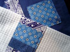 Patchwork Kitchen Towels Tutorial. This isn't the greatest picture, but I love this idea. Good gift too.
