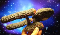 A crocheted starship Enterprise - my inner nerd is shrieking with excitement! Get the crochet hook and boldly go where no yarn has gone before...