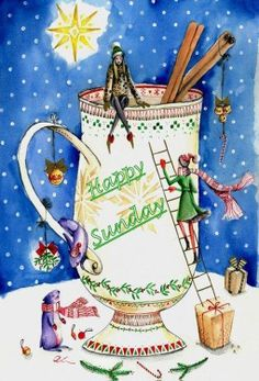 The Christmas Cup © Alexandra Rapcencu Autumn Illustration, Christmas Illustration, Christmas Cup, Christmas Quotes, Happy Weekend, Happy Sunday, Have A Blessed Sunday, Tea And Books, Winter Images