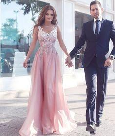 2017 long prom dresses, elegant prom dresses, light pink prom dresses, applique prom dresses, A-line prom dresses, evening dresses, party dresses#SIMIBridal #promdresses
