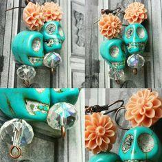 Frida Kahlo Inspired Earrings Creamy Peqch by SugarSkullsJewelry