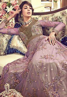 Purple Sequins Floral Worked Blossom Gown Style Dress - Fashionandstylish - The Fashion Studio Designer Anarkali Dresses, Designer Dresses, Gown Style Dress, Stylish Suit, White Embroidery, India Fashion, Beautiful Saree, Bridal Lehenga, Wedding Wear