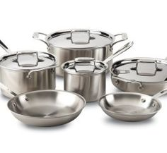 All-Clad Brushed Stainless Steel Bonded Dishwasher Safe Cookware Set, Silver, All-Clad Brushed Stainless cookware set includes: 8 fry pan; sauce pan with lid; sauce pan with lid; saute pan with lid; stock pot with lid. Safest Cookware, Cookware Set, Pots And Pans Sets, Thing 1, Pan Set, Brushed Stainless Steel, Bakeware, Wine Recipes, Kitchen Dining