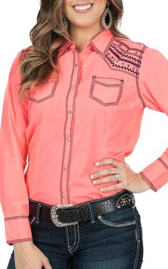 Ariat Women's Mirada Neon Pink Long Sleeve Western Shirt | Cavender's