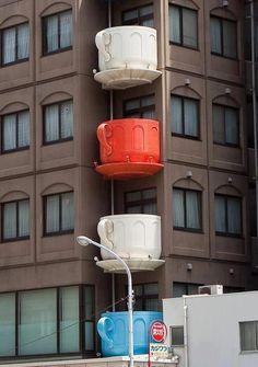 Niimi Teacup Balconies building in Kappabashi, Tokyo