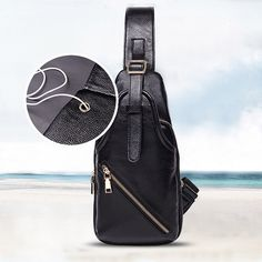 Sale 15% (28.55$) - Men Genuine Leather Crossbody Bag Capacity Leisure Shoulder Bag
