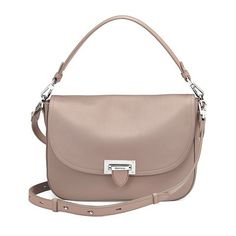 Aspinal of London Slouchy Saddle Bag In Soft Taupe Pebble ($870) ❤ liked on Polyvore featuring bags, handbags, shoulder bags, soft taupe pebble, brown crossbody, satchel bag, crossbody shoulder bags, crossbody saddle bag and brown shoulder bag