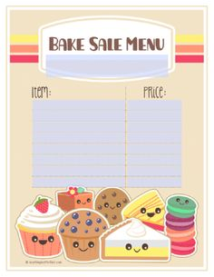 Free Bake Sale Printbles Includes Flyers Food Labels