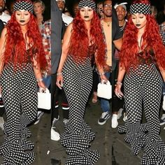 Stepping out!! #BlacChyna Red hair don't care! Pokadots  Y'all like the look?