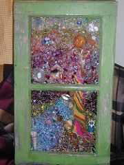 An abstract touch of stain glass to old windows. Mosaic Art, Mosaic Glass, Mirror Mosaic, Stained Glass Art, Stained Glass Windows, Old Windows, Vintage Windows, Mosaic Windows, Window Art