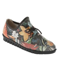 Black Flower Garden Leather Ballerina Sneaker