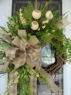 Natural Burlap Greenery Wreath by SistersFloralandGift on Etsy