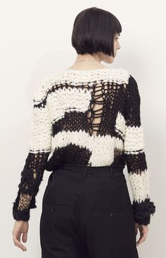 Maison Margiela Black/White Handmade Marled Sweater