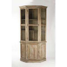 Zentique Edgar Corner Cabinet Oak Hutch Display