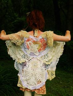 Vintage Doily Bustle Shirt : Completely Made of Doilys in Many Shapes / Colors, & Unique Bird Doilys