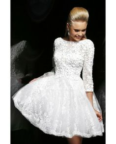 WHITE LACE LONG SLEEVES SHORT PROM DRESS WITH V BACK