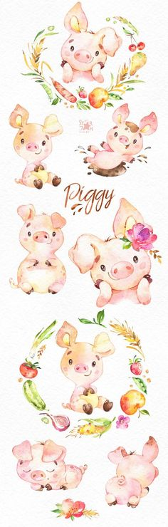 Piggy Watercolor farm clipart country piglet little pig pink vegetable fruits wreath cute Animals Watercolor, Watercolor Ideas, Watercolor Invitations, Painting & Drawing, Pig Drawing, Baby Drawing, Drawing Faces, Drawing People, Watercolor Painting