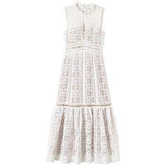 Rebecca Taylor Sleeveless Crochet Lace Dress ($525) ❤ liked on Polyvore featuring dresses, off white, crochet lace dress, victorian dress, mid calf dresses, calf length dresses and sleeveless dress