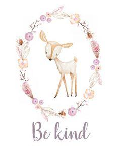 Be Happy Cute Watercolor Wreath Woodland Nursery Poster