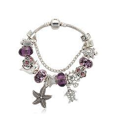 Women Bracelet Crystal Bracelet DIY Starfish Turtle Pendant Bracelet Purple Glass Bead Bracelet & Bangles Jewelry Gift