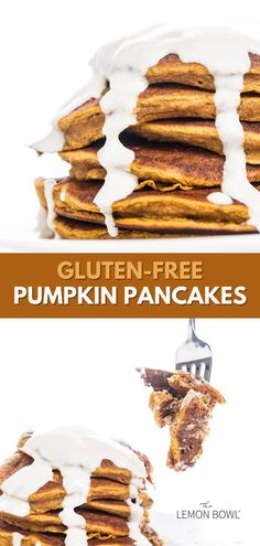 Light, fluffy, and packed with warm spices – these pumpkin pancakes with yogurt topping are delicious and 100% gluten free. Gluten Free Recipes For Breakfast, Brunch Recipes, Sweet Recipes, Free Breakfast, Breakfast Ideas, Healthy Recipes, Homemade Gravy For Biscuits, Gluten Free Pumpkin Pancakes, Lemon Bowl