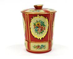 Vintage Round Tin Storage Box Golden Red Moroccan Design Tin Sweet Treat Candy Box