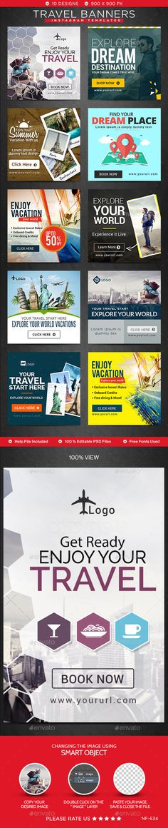 Super travel design banner templates 27 Ideas - New Site Web Banner Design, Web Design, Web Banners, Layout, Travel Ads, Travel Packing, Travel Checklist, Instagram Banner, Instagram Design