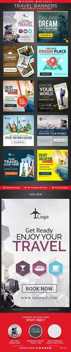 Travel Instagram Templates - 10 Designs Template #design Download: http://graphicriver.net/item/travel-instagram-templates-10-designs/12297922?ref=ksioks